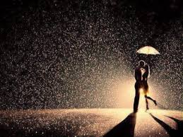 love - couple under umbrella in rain
